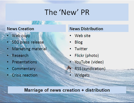 the 'new public relations' is the marriage of news creation with news distribution