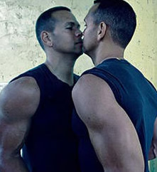 A-Rod - Alex Rodriquez, New York Yankees third baseman, kissing himself in the mirror