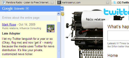 Mark Rose #1 Sidewiki comment on Twitter homepage - for the moment