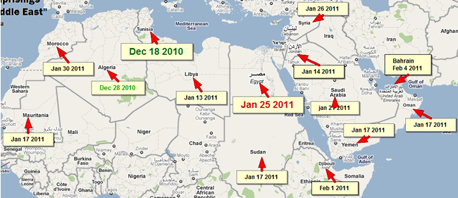 "A map of 2011 people's uprisings in the ""Middle East"" Souce: Wikipedia, by Liza Sabater (cc)S-A-Att. Lisa is the founder and lead writer of culturekitchen.com, one of the Top 100 progressive blogs in the U.S. [www.ndnpac.org]"