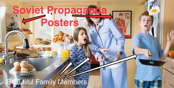 Jay Carney's Family in Their Kitchen With Soviet Propaganda Poster