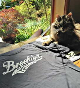 Elizabeth the cat with Brooklyn Poets T shirt PRBlogNews